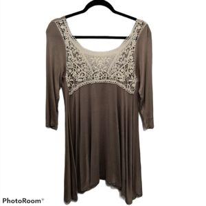 Luxe USA Flowy Bohemian Lace Neck Knit Flowy Top